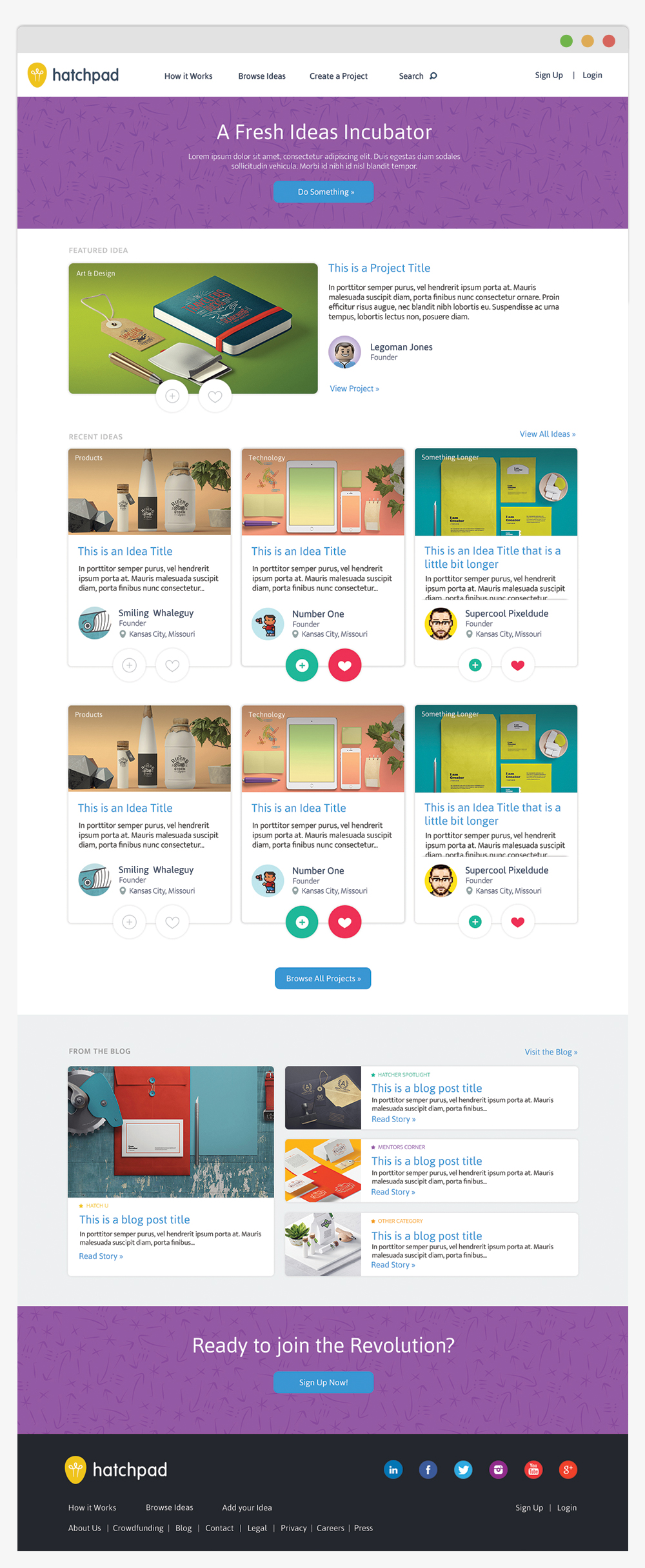 hatchpad homepage design